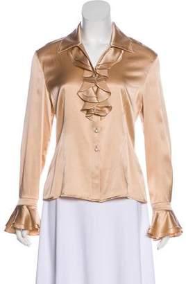 St. John Silk Ruffle-Trimmed Button-Up Blouse