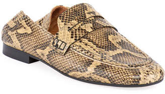 a4a24a2c01b Isabel Marant Fezzy Snake-Print Fold-Down Loafers