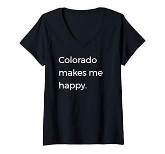 Womens Colorado Makes Me Happy Beautiful Native Colorado V-Neck T-Shirt