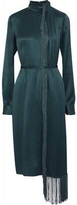 Gabriela Hearst Kelley Fringed Crinkled Silk-Satin Dress