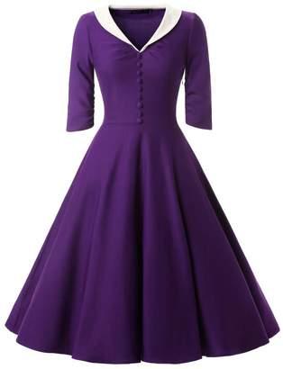 Zadachiel Women's Vintage V-neck Empire Waist Knee Length Casual Wedding Dress
