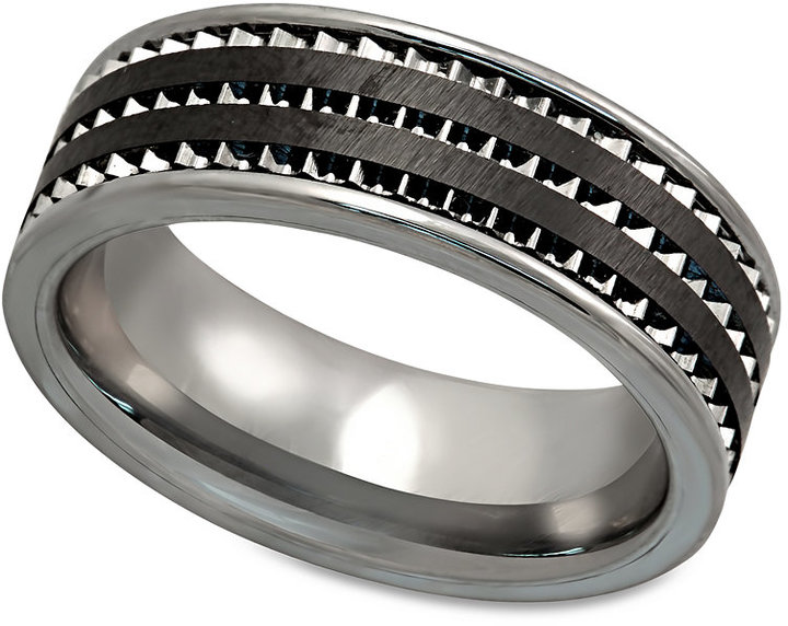 Ring Black Men's Tungsten Ring, Black Ceramic Tungsten 3-Row Inlay Ring