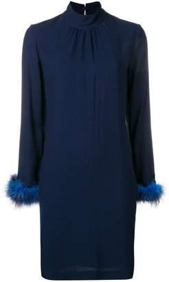 Blumarine feather trim shift dress