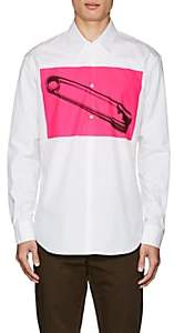 DSQUARED2 Men's Safety-Pin-Graphic Cotton Poplin Shirt