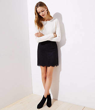 LOFT Scalloped Lace Skirt