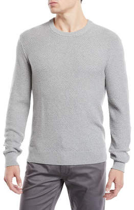 Neiman Marcus Men's Tuck-Stitch Organic Cotton Crewneck Sweater
