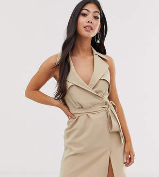 Asos Design DESIGN Petite mini belted trench dress in soft crepe