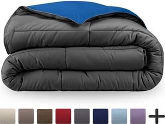 Ultrasoft Bare Home Ultra-Soft Premium 1800 Series Goose Down Alternative Reversible Comforter - Hypoallergenic - All Season - Plush Fiberfill, Twin Extra Long (Twin/Twin XL, Grey/Medium Blue)