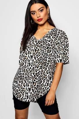 boohoo Leopard Oversized Split Side T-Shirt