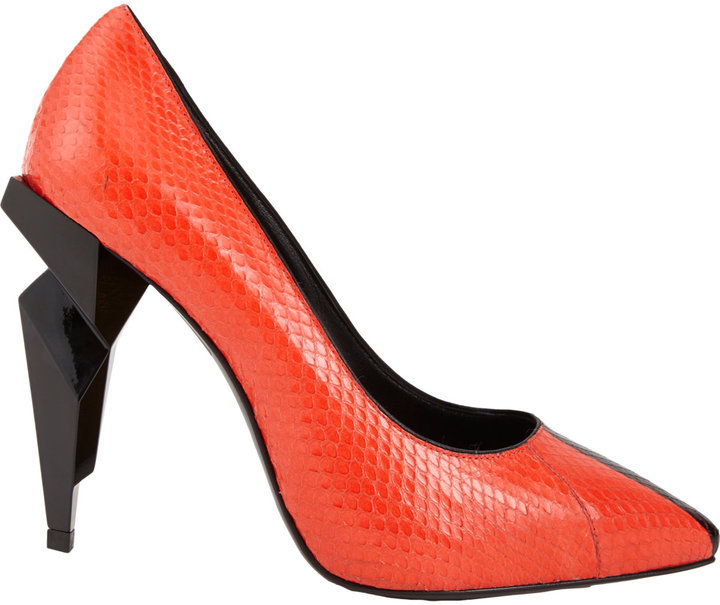 Fendi Diamond-heel Snakeskin Pump