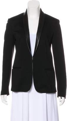 Rag & Bone Leather-Trimmed Shawl-Lapel Blazer