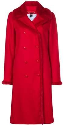 Blumarine fur details midi coat