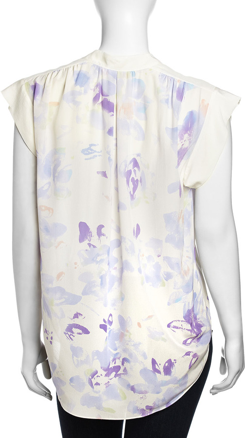 Rebecca Taylor Sleeveless Georgette Floral Top, Cream