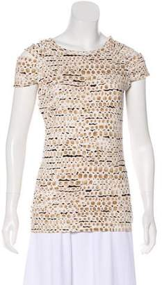 St. John Printed Short Sleeve Top