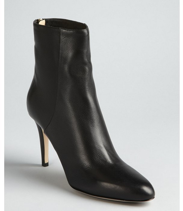 Jimmy Choo black pebbled leather tapered toe 'Brock' heel zip boots