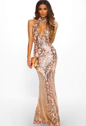Pink Boutique Majesty Rose Gold Limited Edition Sequin Plunge Choker Maxi Dress