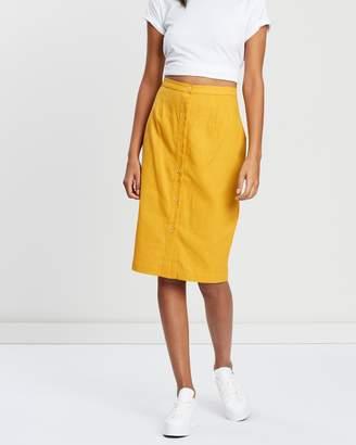 MinkPink Golden Days Button Midi Skirt