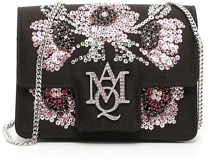 Alexander McQueenEmbroidered Satin Mini Insignia Bag