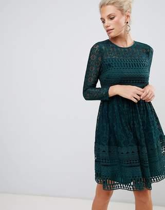 Asos Design DESIGN premium lace mini skater dress with long sleeves