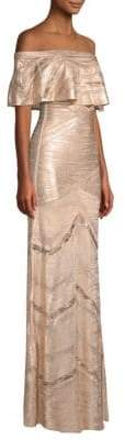 Herve Leger Off-Shoulder Metallic Ruffle Gown