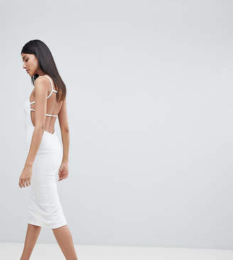 Asos Tall TALL Crepe Square Neck Strappy Exposed Back Midi Dress