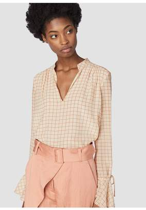 Derek Lam 10 Crosby Long Sleeve Blouse With Tie Cuffs