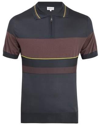 Brioni - Contrast Panel Silk Blend Knit Polo Shirt - Mens - Multi