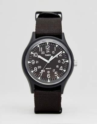 Timex MK1 Aluminium Watch In Black Nylon Strap/Black Dial