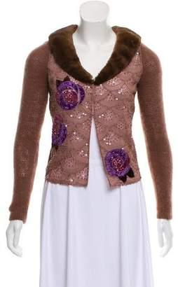 Blumarine Fur-Trimmed Cardigan
