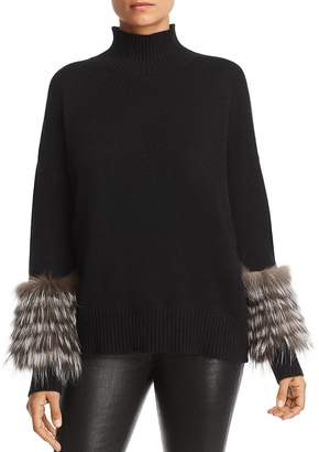 Bloomingdale's C by Fox Fur-Trim Cashmere Mock-Neck Sweater - 100% Exclusive