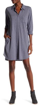 Allen Allen Stripe 3/4 Length Sleeve Shirt Dress $118 thestylecure.com