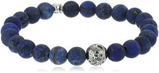 Tateossian Asteroid Ruthenium Plated Silver Matt Lapis Beads Blue Bracelet