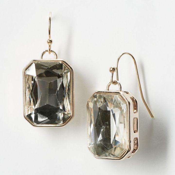 Vera Wang Simply vera gold tone simulated crystal drop earrings