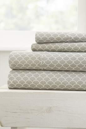 IENJOY HOME Home Spun Premium Ultra Soft Scallops Pattern 4-Piece California Knig Bed Sheet Set - Gray