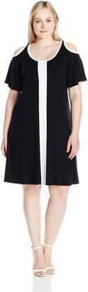 Karen Kane Women's Plus Size Color Block Cold Shoulder Dress, Black/White