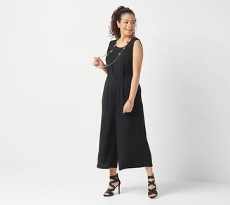 Du Jour Petite Cropped Wide Leg Knit Jumpsuit with Tie Waist