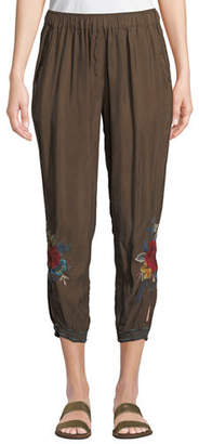 Johnny Was Vickie Floral-Embroidered Jogger Pants