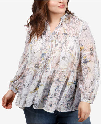 Lucky Brand Trendy Plus Size Tiered Printed Peasant Top