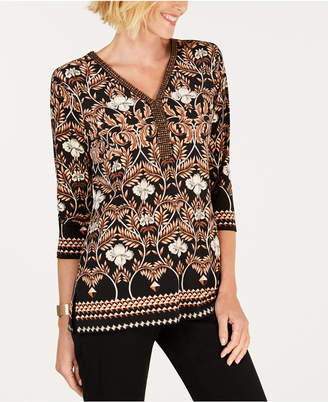 JM Collection Embellished-Neck Printed Top, Created for Macy's