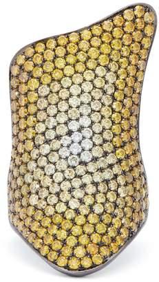 LYNN BAN Rhodium plated-silver diamond pavé ring