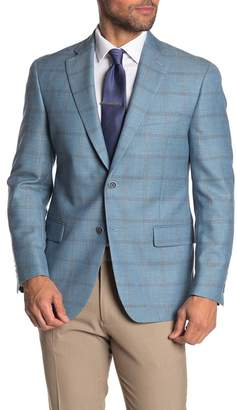 Hart Schaffner Marx Light Blue Check Two Button Notch Lapel Wool BlendSuit Separates Jacket