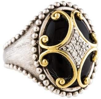 Jude Frances Two-Tone Diamond & Onyx Maltese Cross Ring