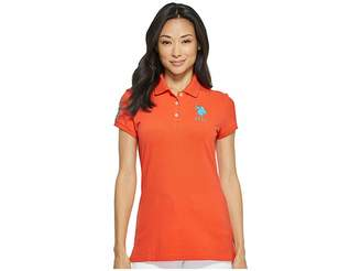U.S. Polo Assn. Neon Logos Short Sleeve Polo Shirt Women's Short Sleeve Knit