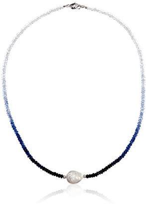 Honora Sterling Silver White Ming Freshwater Cultured Pearls with Sapphire Ombre Faceted Graduation Necklace
