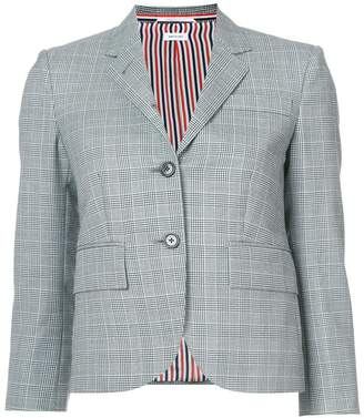 Thom Browne Classic Single Breasted Sport Coat In School Uniform Prince Of Wales Wool Twill