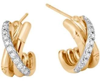 John Hardy 18K Yellow Gold Bamboo Pavé Diamond J Hoop Earrings
