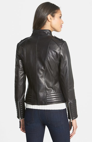 MICHAEL Michael Kors Quilt Detail Leather Jacket (Online Only)