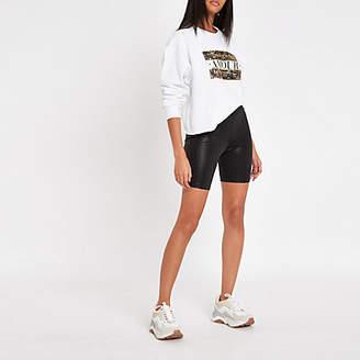 River Island Womens Black coated cycling shorts