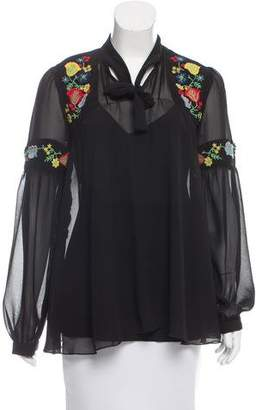 Anna Sui Embroidered Long Sleeve Top