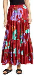 La DoubleJ Big Print Convertible Tiered Silk Maxi Skirt